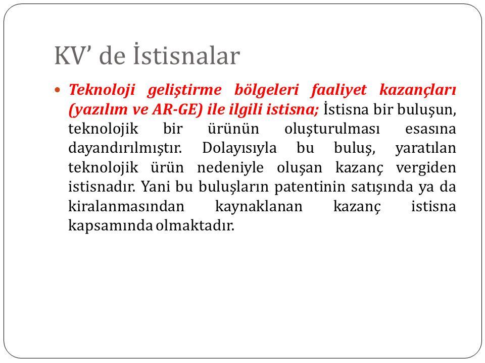 KV' de İstisnalar Teknoloji geliştirme bölgeleri faaliyet kazançları (yazılım ve AR-GE) ile ilgili istisna; İstisna bir buluşun, teknolojik bir ürünün