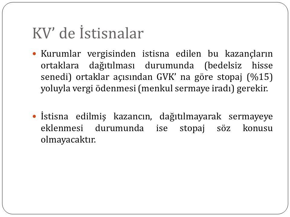 KV' de İstisnalar Kurumlar vergisinden istisna edilen bu kazançların ortaklara dağıtılması durumunda (bedelsiz hisse senedi) ortaklar açısından GVK' n