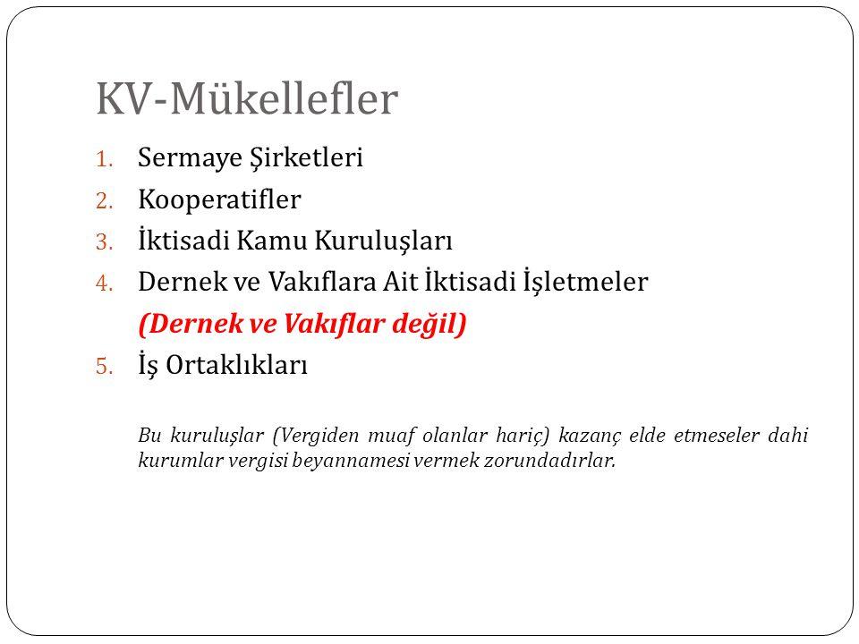 KV-Mükellefler 1. Sermaye Şirketleri 2. Kooperatifler 3. İktisadi Kamu Kuruluşları 4. Dernek ve Vakıflara Ait İktisadi İşletmeler (Dernek ve Vakıflar