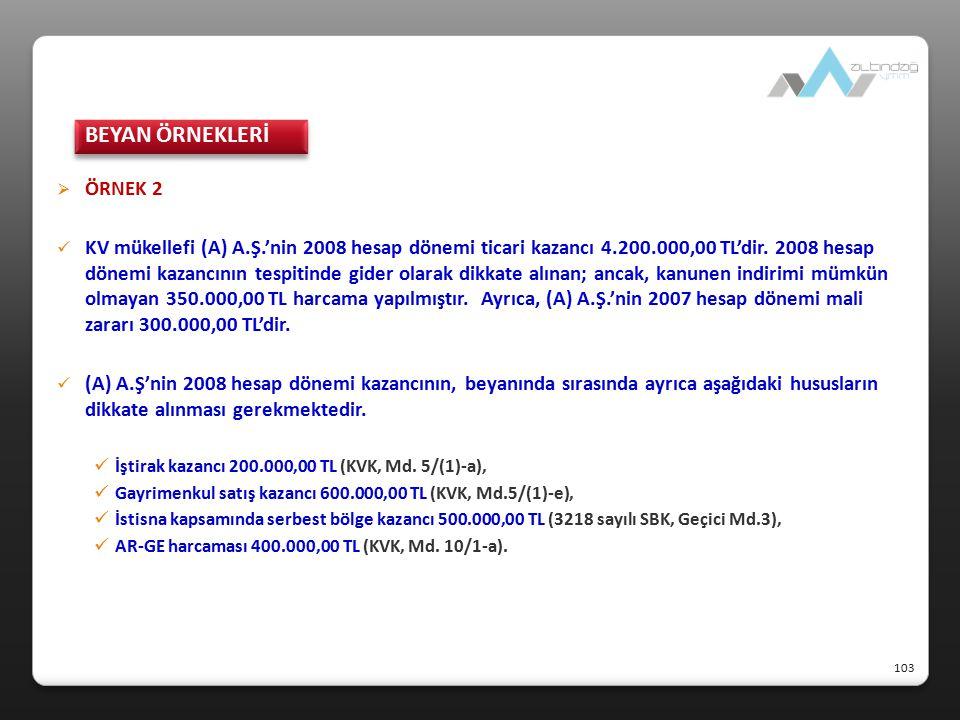 ÖRNEK 2 KV mükellefi (A) A.Ş.'nin 2008 hesap dönemi ticari kazancı 4.200.000,00 TL'dir. 2008 hesap dönemi kazancının tespitinde gider olarak dikkate