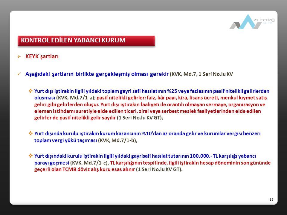  KEYK şartları Aşağıdaki şartların birlikte gerçekleşmiş olması gerekir (KVK, Md.7, 1 Seri No.lu KV GT).  Yurt dışı iştirakin ilgili yıldaki toplam