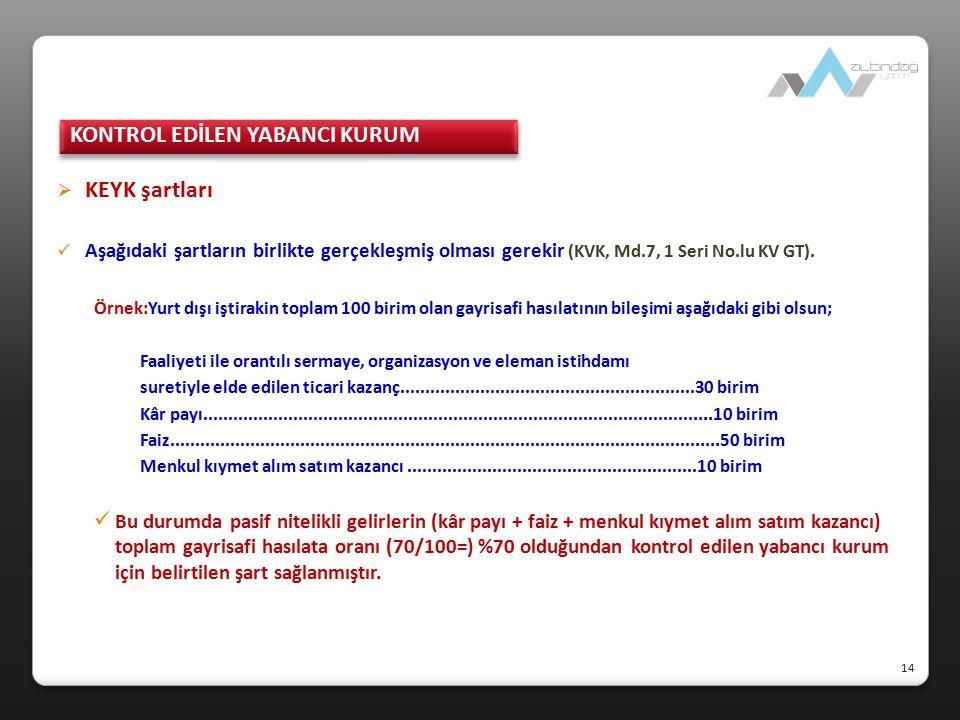  KEYK şartları Aşağıdaki şartların birlikte gerçekleşmiş olması gerekir (KVK, Md.7, 1 Seri No.lu KV GT). Örnek:Yurt dışı iştirakin toplam 100 birim o
