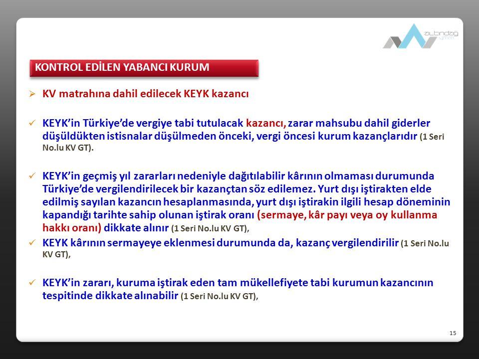  KV matrahına dahil edilecek KEYK kazancı KEYK'in Türkiye'de vergiye tabi tutulacak kazancı, zarar mahsubu dahil giderler düşüldükten istisnalar düşü