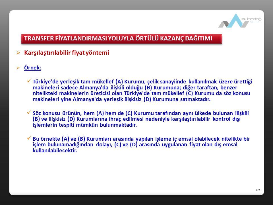  Karşılaştırılabilir fiyat yöntemi  Örnek: Türkiye'de yerleşik tam mükellef (A) Kurumu, çelik sanayiinde kullanılmak üzere ürettiği makineleri sadec