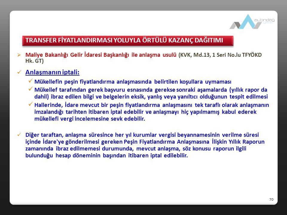  Maliye Bakanlığı Gelir İdaresi Başkanlığı ile anlaşma usulü (KVK, Md.13, 1 Seri No.lu TFYÖKD Hk. GT) Anlaşmanın iptali: Mükellefin peşin fiyatlandır