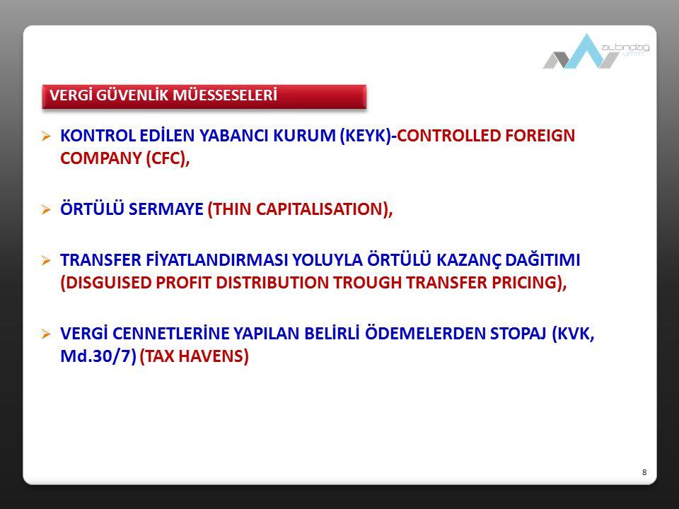  KONTROL EDİLEN YABANCI KURUM (KEYK)-CONTROLLED FOREIGN COMPANY (CFC),  ÖRTÜLÜ SERMAYE (THIN CAPITALISATION),  TRANSFER FİYATLANDIRMASI YOLUYLA ÖRT