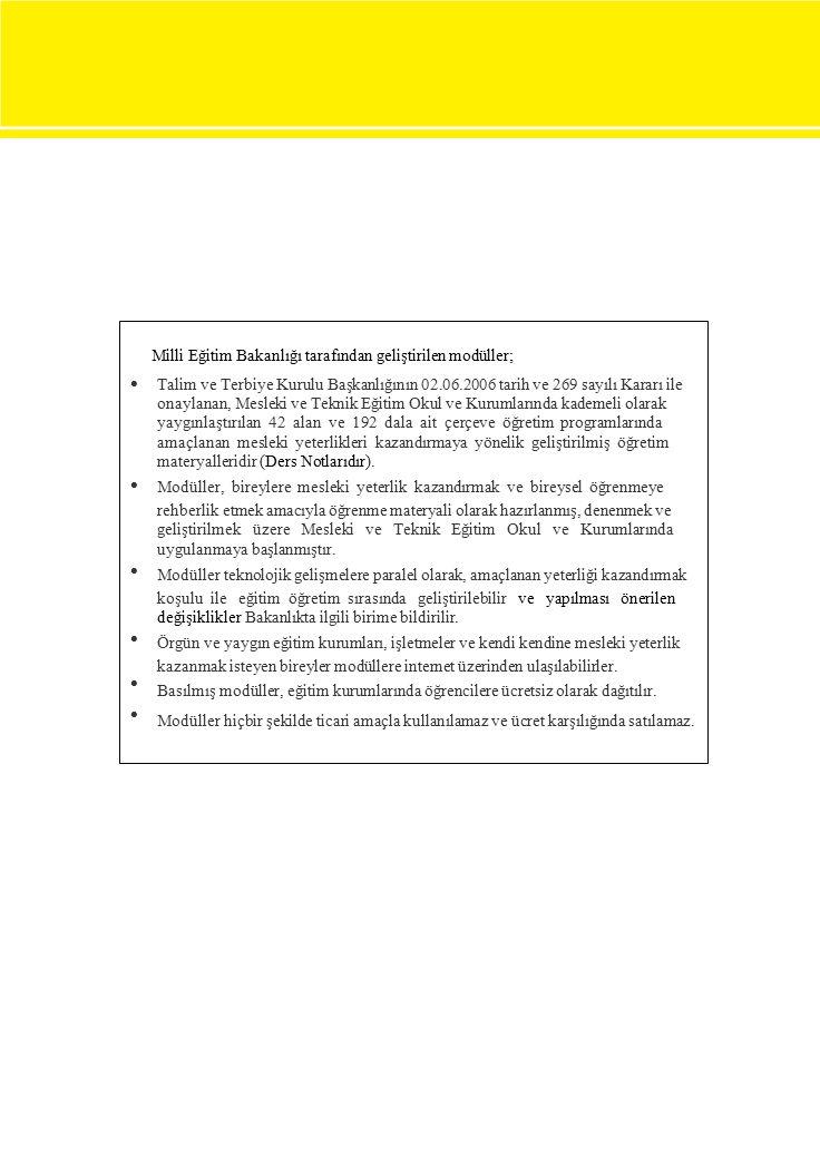 Milli Eğitim Bakanlığı tarafından geliştirilen modüller;  Talim ve Terbiye Kurulu Başkanlığının 02.06.2006 tarih ve 269 sayılı Kararı ile onaylanan, Mesleki ve Teknik Eğitim Okul ve Kurumlarında kademeli olarak yaygınlaştırılan 42 alan ve 192 dala ait çerçeve öğretim programlarında amaçlanan mesleki yeterlikleri kazandırmaya yönelik geliştirilmiş öğretim materyalleridir (Ders Notlarıdır).