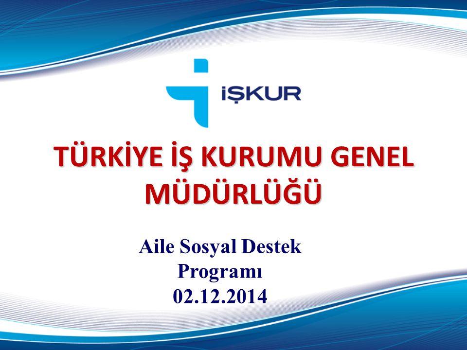 TÜRKİYE İŞ KURUMU GENEL MÜDÜRLÜĞÜ Aile Sosyal Destek Programı 02.12.2014