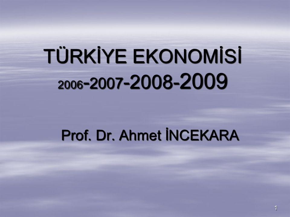 1 TÜRKİYE EKONOMİSİ 2006 - 2007 -2008- 2009 Prof. Dr. Ahmet İNCEKARA