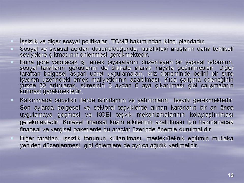 19  İşsizlik ve diğer sosyal politikalar, TCMB bakımından ikinci plandadır.  Sosyal ve siyasal açıdan düşünüldüğünde, işsizlikteki artışların daha t