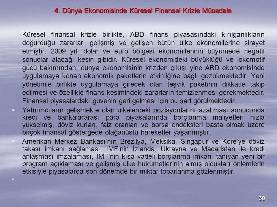 30 4. Dünya Ekonomisinde Küresel Finansal Krizle Mücadele   Küresel finansal krizle birlikte, ABD finans piyasasındaki kırılganlıkların doğurduğu za