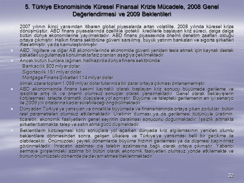 32 5. Türkiye Ekonomisinde Küresel Finansal Krizle Mücadele, 2008 Genel Değerlendirmesi ve 2009 Beklentileri  2007 yılının ikinci yarısından itibaren