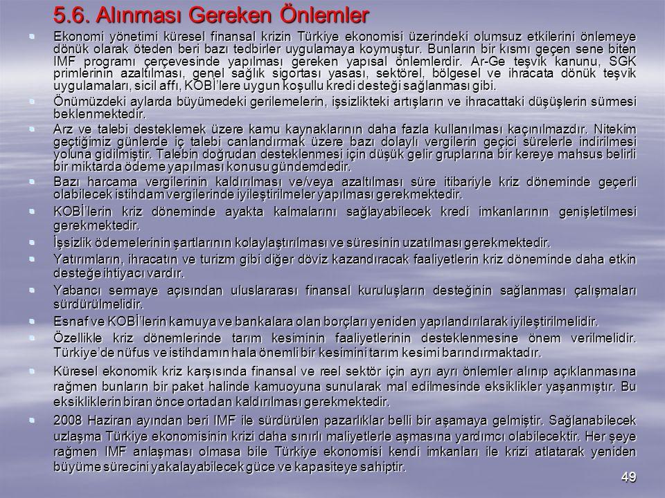 49 5.6. Alınması Gereken Önlemler  Ekonomi yönetimi küresel finansal krizin Türkiye ekonomisi üzerindeki olumsuz etkilerini önlemeye dönük olarak öte