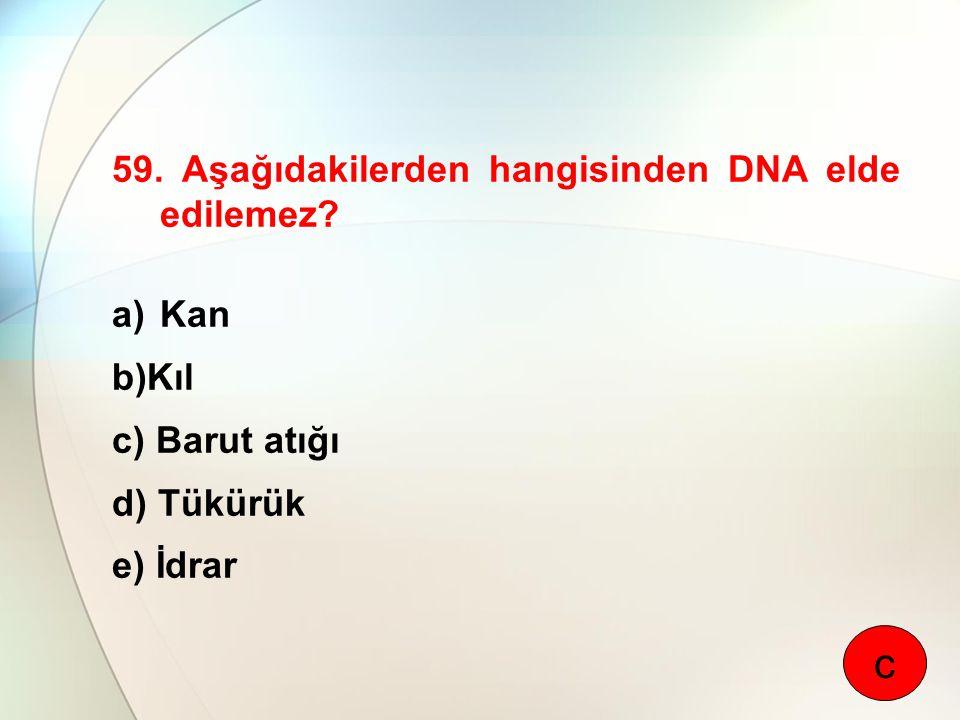 59. Aşağıdakilerden hangisinden DNA elde edilemez? a)Kan b)Kıl c) Barut atığı d) Tükürük e) İdrar c