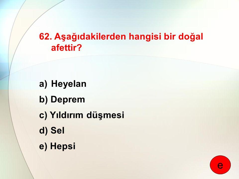 62. Aşağıdakilerden hangisi bir doğal afettir? a)Heyelan b) Deprem c) Yıldırım düşmesi d) Sel e) Hepsi e