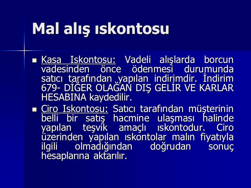 Mal alış ıskontosu Kasa Iskontosu: Vadeli alışlarda borcun vadesinden önce ödenmesi durumunda satıcı tarafından yapılan indirimdir. İndirim 679- DİĞER