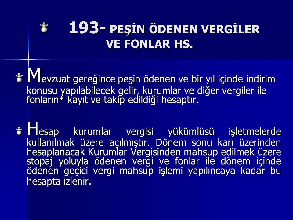193- PEŞİN ÖDENEN VERGİLER VE FONLAR HS. 193- PEŞİN ÖDENEN VERGİLER VE FONLAR HS. M evzuat gereğince peşin ödenen ve bir yıl içinde indirim konusu yap