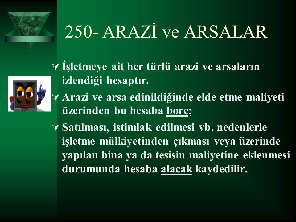 250- ARAZİ ve ARSALAR İİşletmeye ait her türlü arazi ve arsaların izlendiği hesaptır. AArazi ve arsa edinildiğinde elde etme maliyeti üzerinden bu