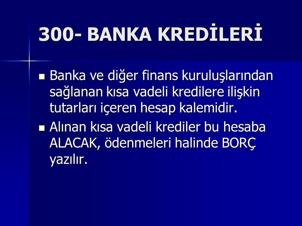 300- BANKA KREDİLERİ Banka ve diğer finans kuruluşlarından sağlanan kısa vadeli kredilere ilişkin tutarları içeren hesap kalemidir. Banka ve diğer fin