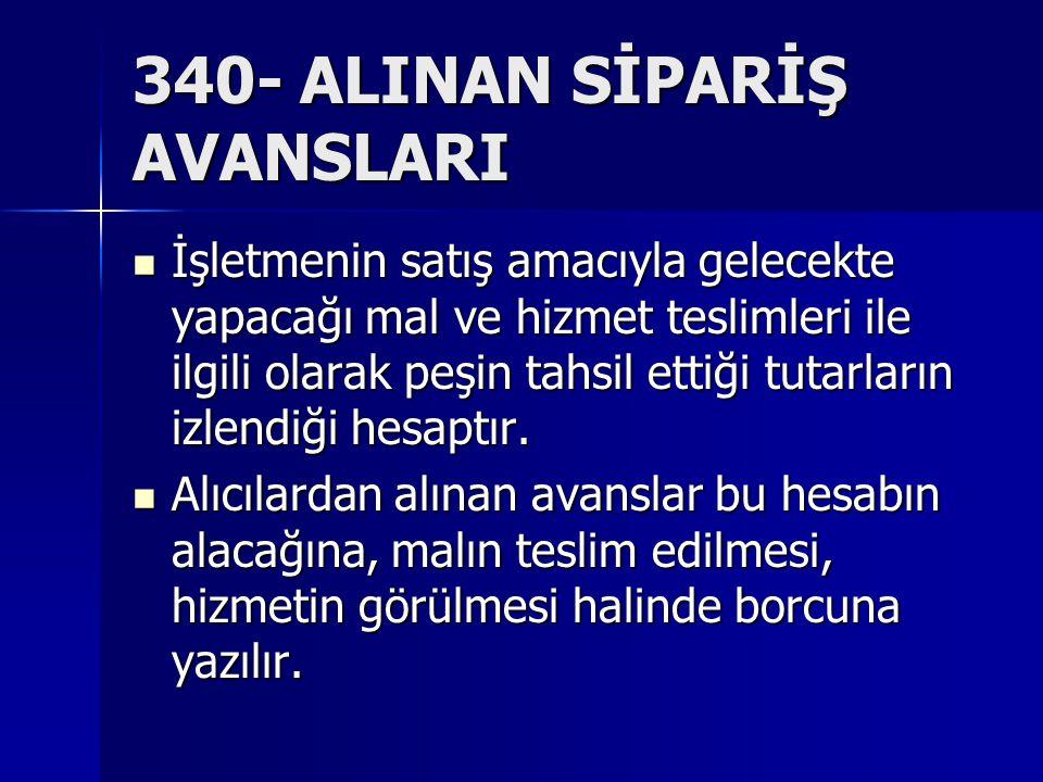 340- ALINAN SİPARİŞ AVANSLARI İşletmenin satış amacıyla gelecekte yapacağı mal ve hizmet teslimleri ile ilgili olarak peşin tahsil ettiği tutarların izlendiği hesaptır.