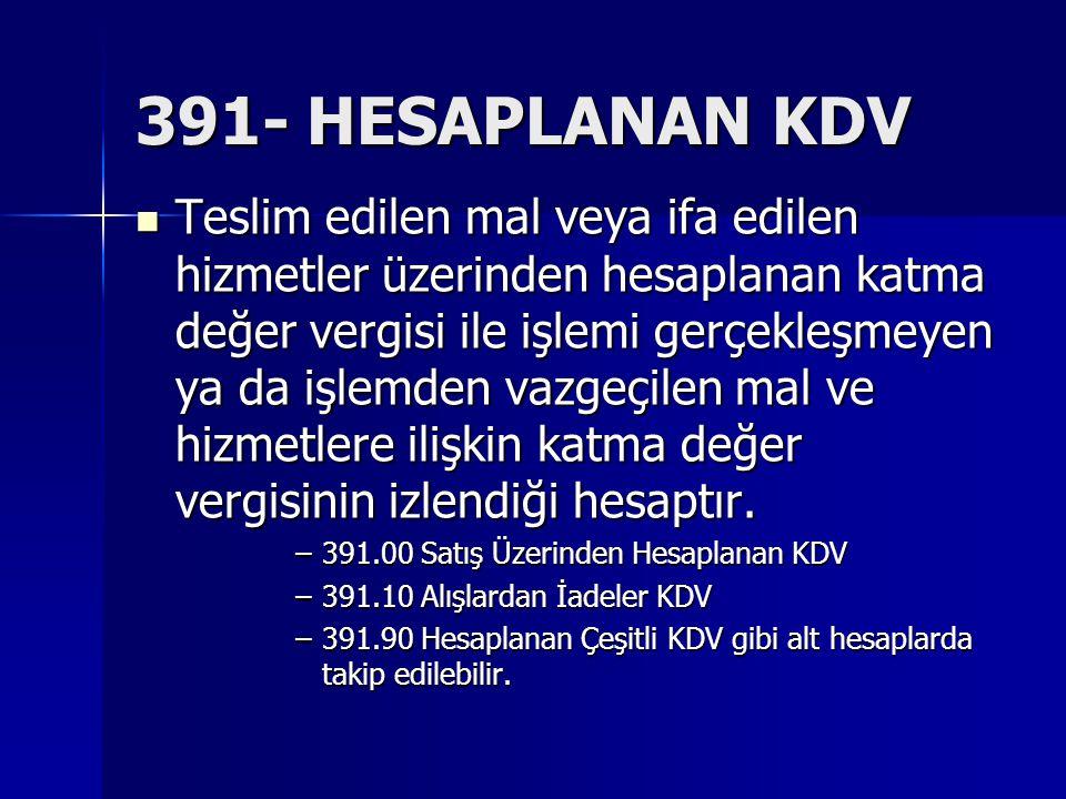 391- HESAPLANAN KDV Teslim edilen mal veya ifa edilen hizmetler üzerinden hesaplanan katma değer vergisi ile işlemi gerçekleşmeyen ya da işlemden vazgeçilen mal ve hizmetlere ilişkin katma değer vergisinin izlendiği hesaptır.