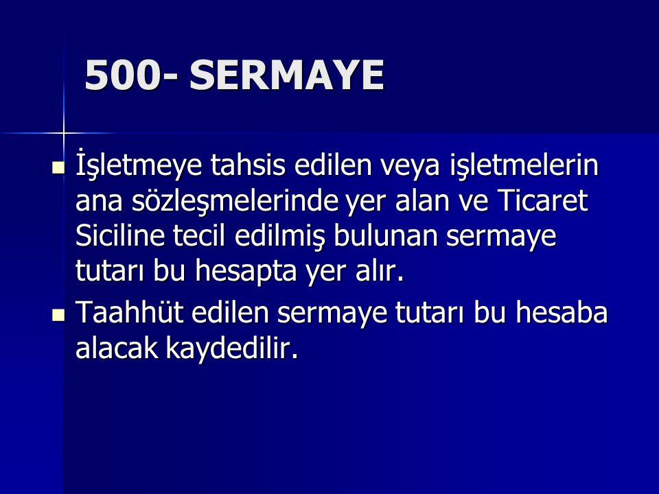 500- SERMAYE İşletmeye tahsis edilen veya işletmelerin ana sözleşmelerinde yer alan ve Ticaret Siciline tecil edilmiş bulunan sermaye tutarı bu hesapt