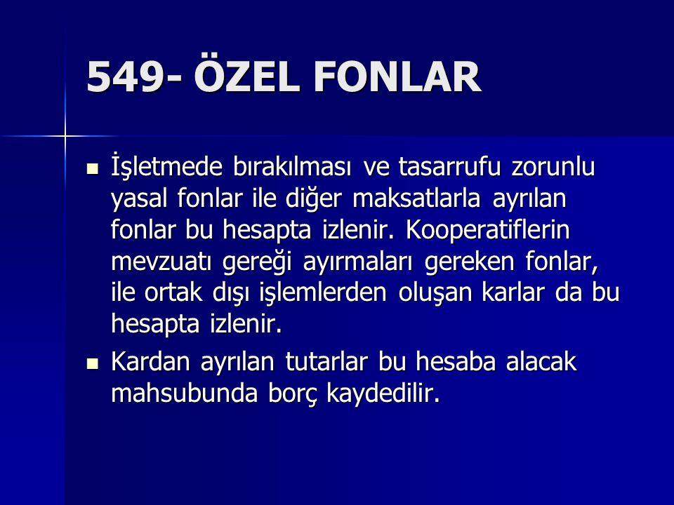 549- ÖZEL FONLAR İşletmede bırakılması ve tasarrufu zorunlu yasal fonlar ile diğer maksatlarla ayrılan fonlar bu hesapta izlenir. Kooperatiflerin mevz