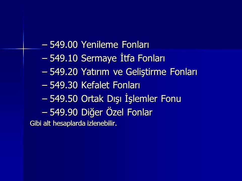 –549.00 Yenileme Fonları –549.10 Sermaye İtfa Fonları –549.20 Yatırım ve Geliştirme Fonları –549.30 Kefalet Fonları –549.50 Ortak Dışı İşlemler Fonu –