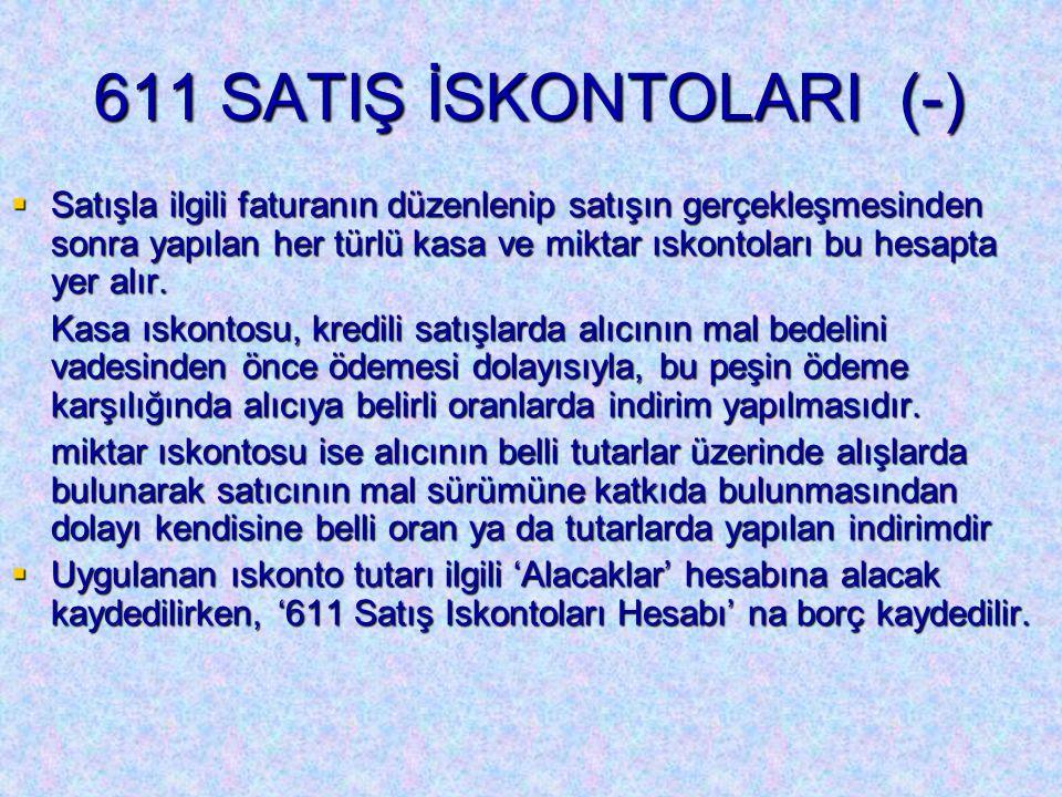 611 SATIŞ İSKONTOLARI (-)  Satışla ilgili faturanın düzenlenip satışın gerçekleşmesinden sonra yapılan her türlü kasa ve miktar ıskontoları bu hesapta yer alır.