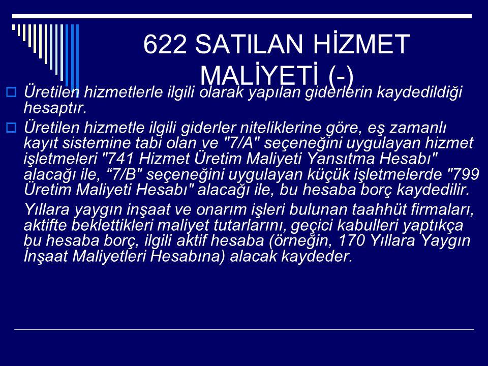 622 SATILAN HİZMET MALİYETİ (-)  Üretilen hizmetlerle ilgili olarak yapılan giderlerin kaydedildiği hesaptır.