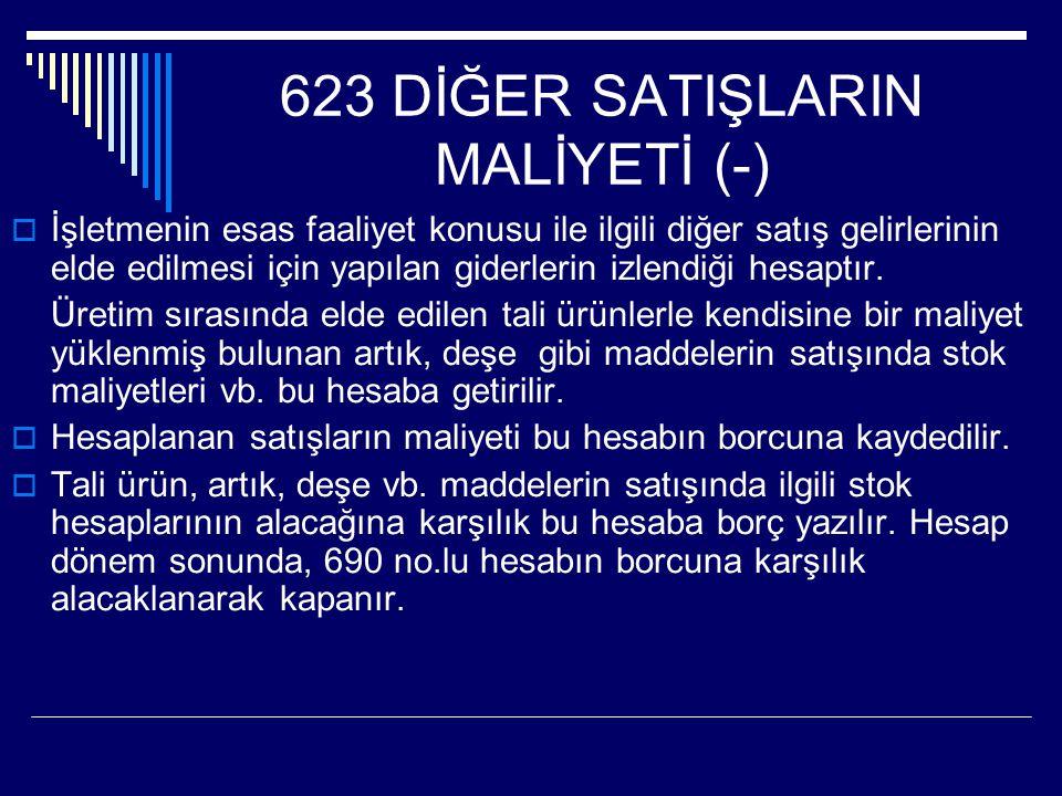 623 DİĞER SATIŞLARIN MALİYETİ (-)  İşletmenin esas faaliyet konusu ile ilgili diğer satış gelirlerinin elde edilmesi için yapılan giderlerin izlendiği hesaptır.