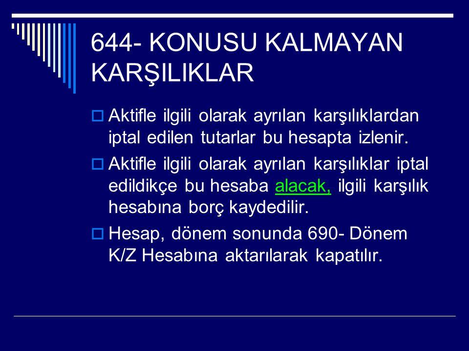 644- KONUSU KALMAYAN KARŞILIKLAR  Aktifle ilgili olarak ayrılan karşılıklardan iptal edilen tutarlar bu hesapta izlenir.  Aktifle ilgili olarak ayrı
