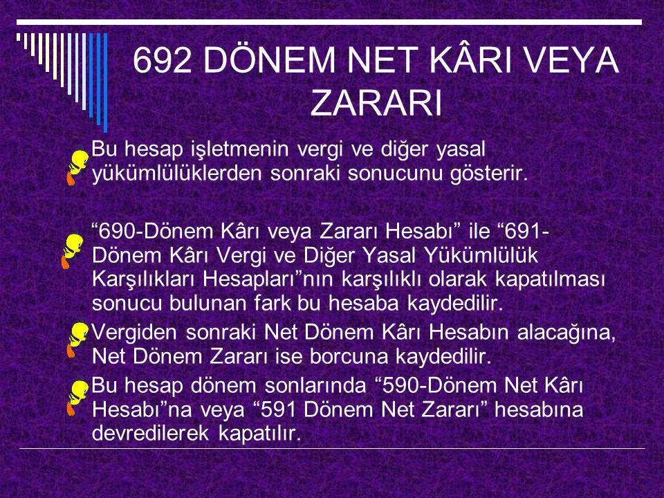 """692 DÖNEM NET KÂRI VEYA ZARARI Bu hesap işletmenin vergi ve diğer yasal yükümlülüklerden sonraki sonucunu gösterir. """"690-Dönem Kârı veya Zararı Hesabı"""