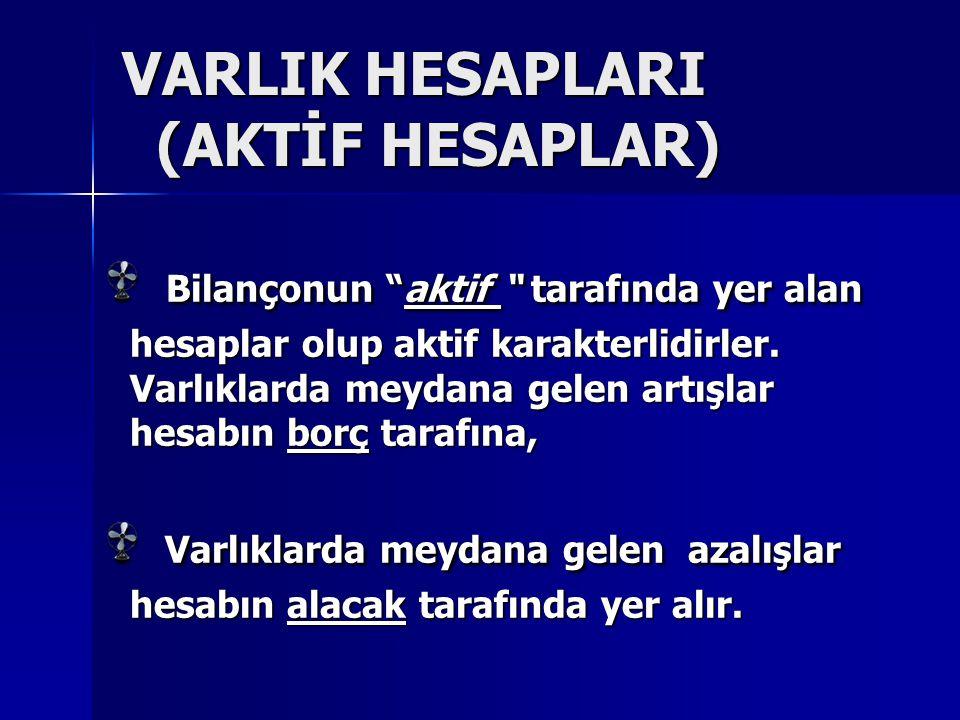 VARLIK HESAPLARI (AKTİF HESAPLAR) Bilançonun aktif tarafında yer alan hesaplar olup aktif karakterlidirler.