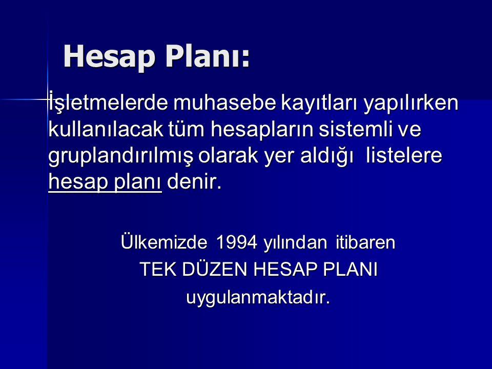 Hesap Planı: İşletmelerde muhasebe kayıtları yapılırken kullanılacak tüm hesapların sistemli ve gruplandırılmış olarak yer aldığı listelere hesap planı denir.