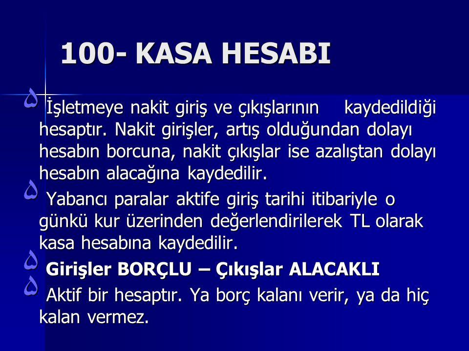 100- KASA HESABI ۵ İşletmeye nakit giriş ve çıkışlarının kaydedildiği hesaptır.