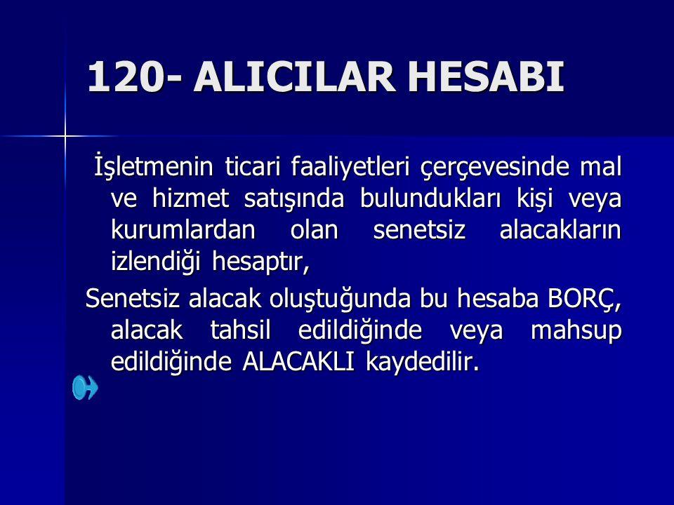 120- ALICILAR HESABI İşletmenin ticari faaliyetleri çerçevesinde mal ve hizmet satışında bulundukları kişi veya kurumlardan olan senetsiz alacakların
