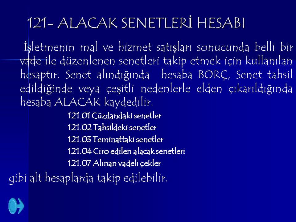121- ALACAK SENETLERİ HESABI İşletmenin mal ve hizmet satışları sonucunda belli bir vade ile düzenlenen senetleri takip etmek için kullanılan hesaptır