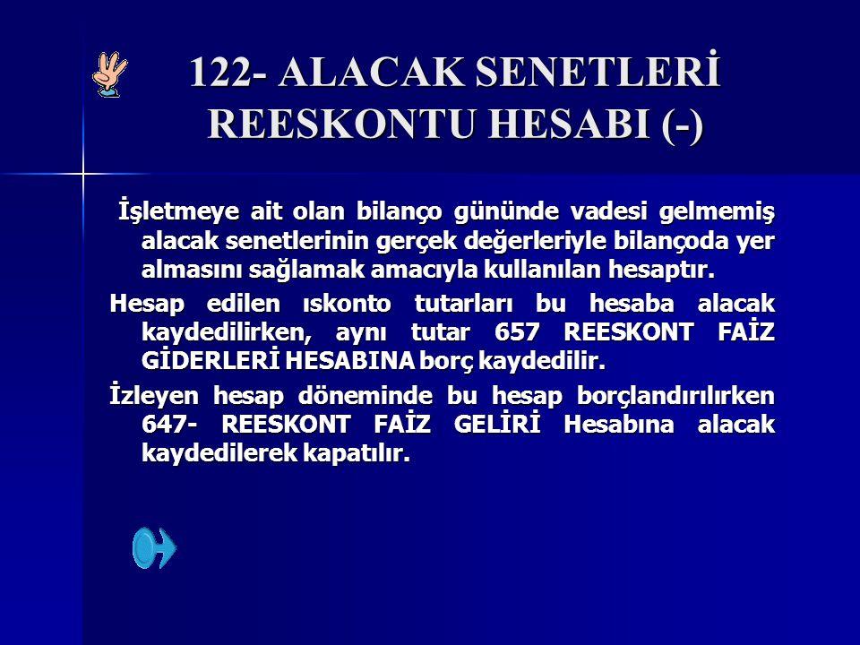 122- ALACAK SENETLERİ REESKONTU HESABI (-) İşletmeye ait olan bilanço gününde vadesi gelmemiş alacak senetlerinin gerçek değerleriyle bilançoda yer almasını sağlamak amacıyla kullanılan hesaptır.