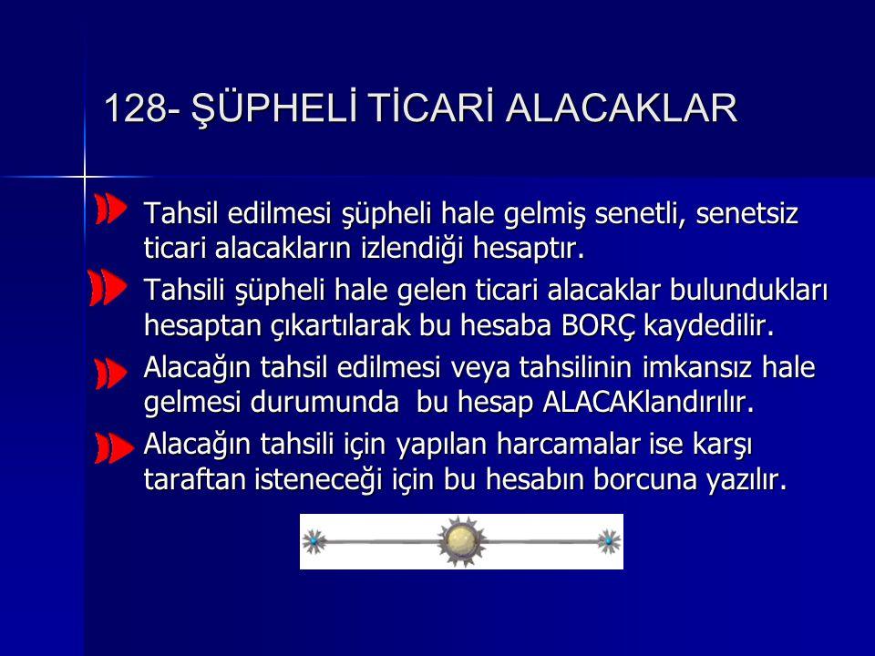 128- ŞÜPHELİ TİCARİ ALACAKLAR Tahsil edilmesi şüpheli hale gelmiş senetli, senetsiz ticari alacakların izlendiği hesaptır.