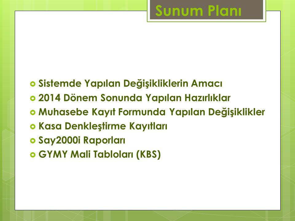 Sunum Planı  Sistemde Yapılan Değişikliklerin Amacı  2014 Dönem Sonunda Yapılan Hazırlıklar  Muhasebe Kayıt Formunda Yapılan Değişiklikler  Kasa D