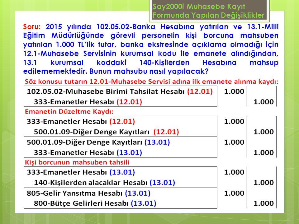 Say2000i Muhasebe Kayıt Formunda Yapılan Değişiklikler Soru: 2015 yılında 102.05.02-Banka Hesabına yatırılan ve 13.1-Milli Eğitim Müdürlüğünde görevli