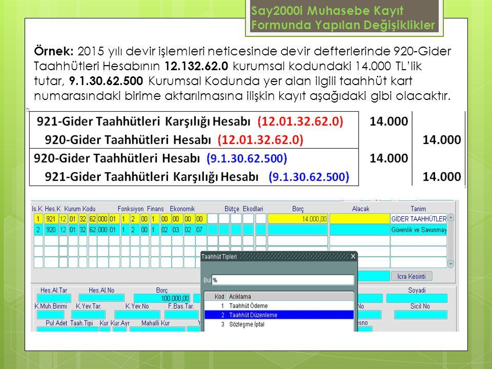 Say2000i Muhasebe Kayıt Formunda Yapılan Değişiklikler Örnek: 2015 yılı devir işlemleri neticesinde devir defterlerinde 920-Gider Taahhütleri Hesabını