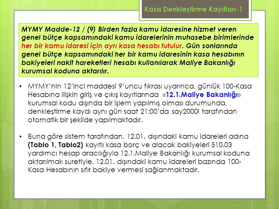 Kasa Denkleştirme Kayıtları-1 MYMY Madde-12 / (9) Birden fazla kamu idaresine hizmet veren genel bütçe kapsamındaki kamu idarelerinin muhasebe birimle
