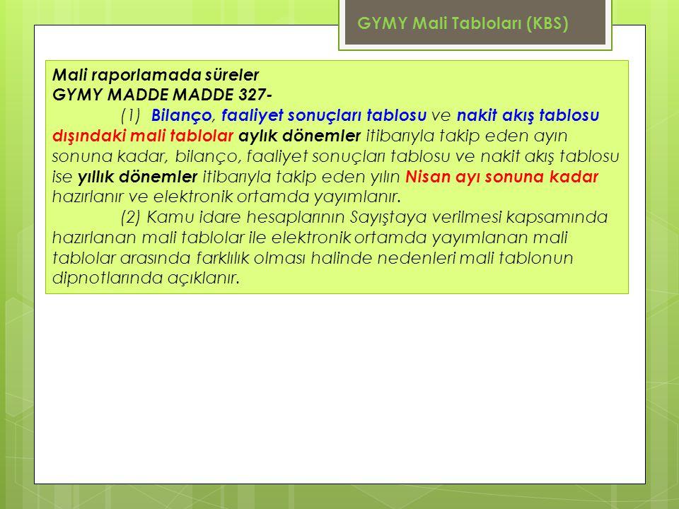 Mali raporlamada süreler GYMY MADDE MADDE 327- (1) Bilanço, faaliyet sonuçları tablosu ve nakit akış tablosu dışındaki mali tablolar aylık dönemler it