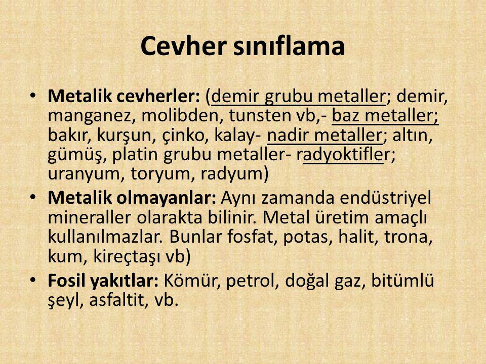 Cevher sınıflama Metalik cevherler: (demir grubu metaller; demir, manganez, molibden, tunsten vb,- baz metaller; bakır, kurşun, çinko, kalay- nadir me