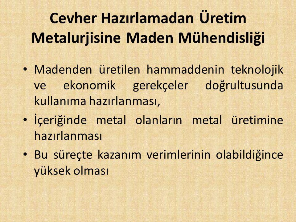 Cevher Hazırlamadan Üretim Metalurjisine Maden Mühendisliği Madenden üretilen hammaddenin teknolojik ve ekonomik gerekçeler doğrultusunda kullanıma ha