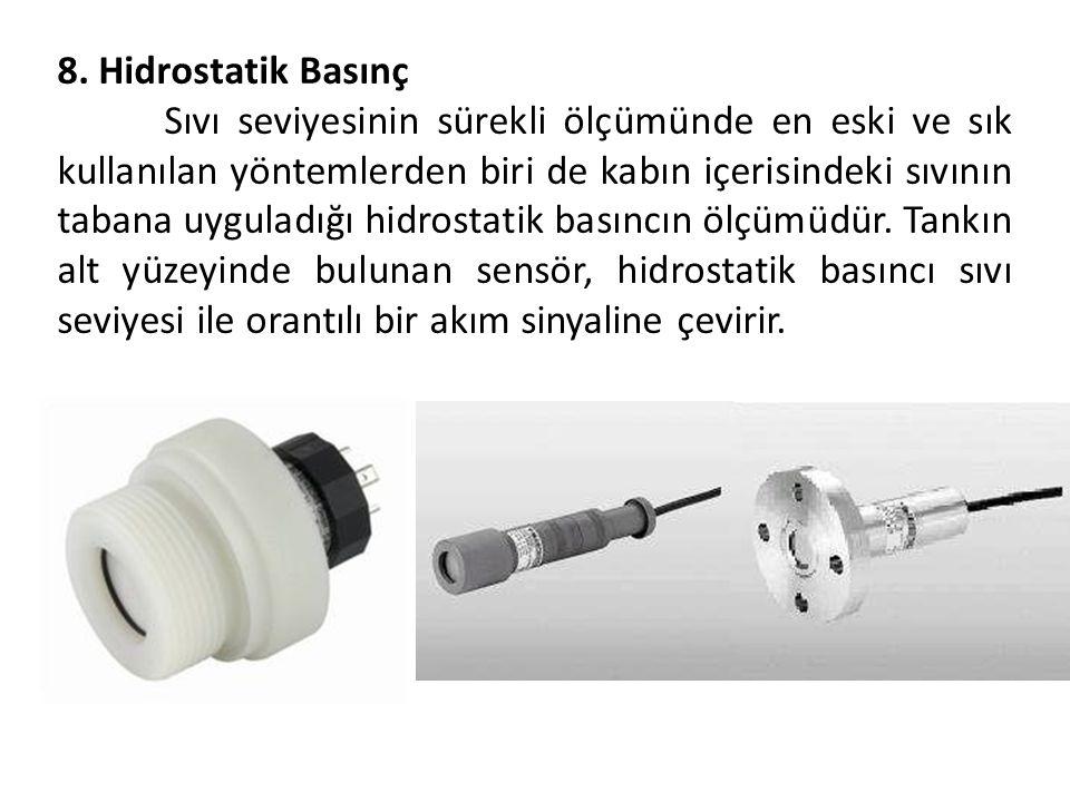 8. Hidrostatik Basınç Sıvı seviyesinin sürekli ölçümünde en eski ve sık kullanılan yöntemlerden biri de kabın içerisindeki sıvının tabana uyguladığı h