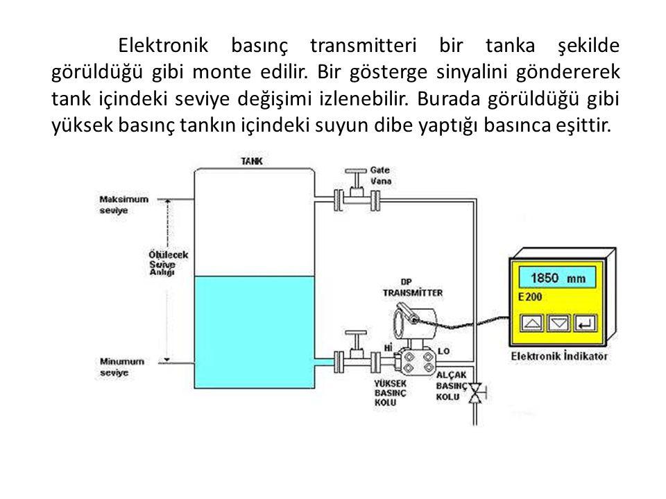 Elektronik basınç transmitteri bir tanka şekilde görüldüğü gibi monte edilir. Bir gösterge sinyalini göndererek tank içindeki seviye değişimi izlenebi