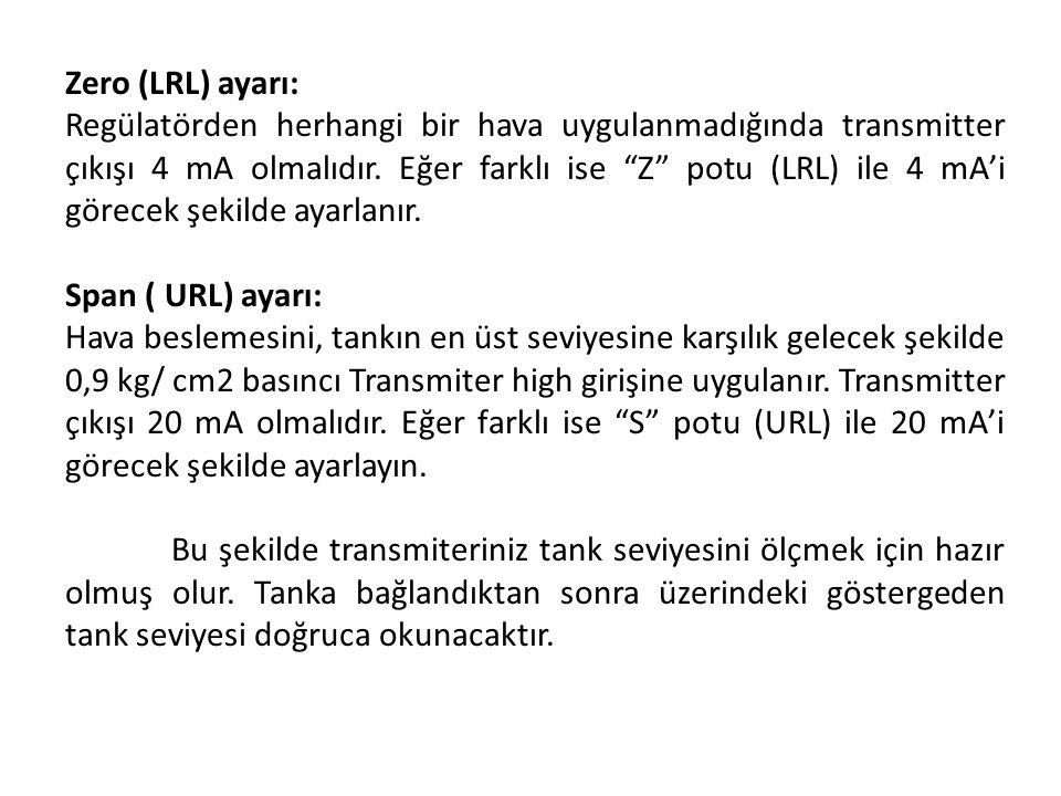 """Zero (LRL) ayarı: Regülatörden herhangi bir hava uygulanmadığında transmitter çıkışı 4 mA olmalıdır. Eğer farklı ise """"Z"""" potu (LRL) ile 4 mA'i görecek"""